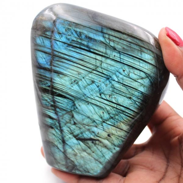 Sier vrije vorm labradoriet steen