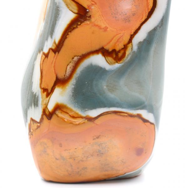 Bedrukte jaspis freeform glanzend blauw oranje 3 kilo